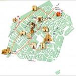 Die Kirchen im mittelalterlichen Viertel, Kartenquelle: Comune di Sassari