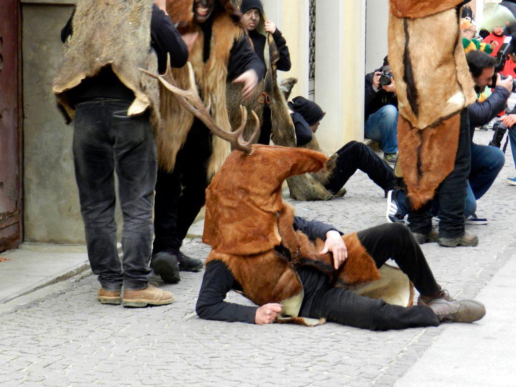 Is Cerbus - der Hirsch in einer Strassenszene