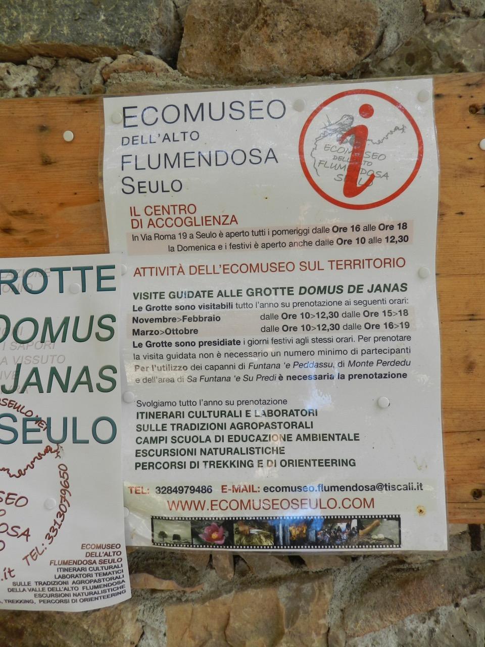 Öffnungszeiten / Exkursionen Ecomuseo