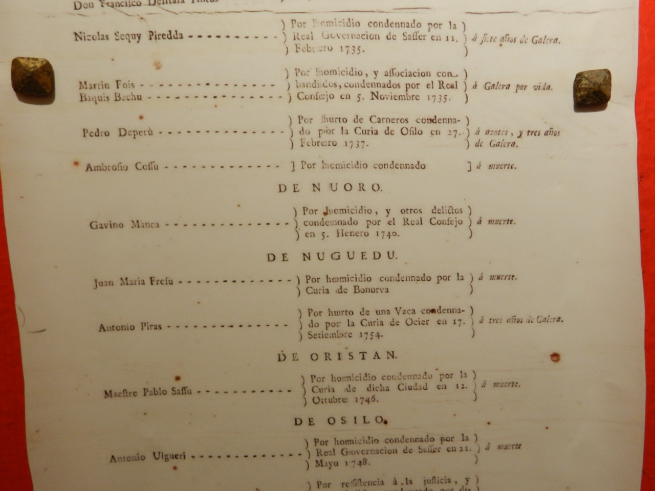 Ein kleiner Auszug aus der Liste gesuchter Mörder (Museo Banditismo Aggius)