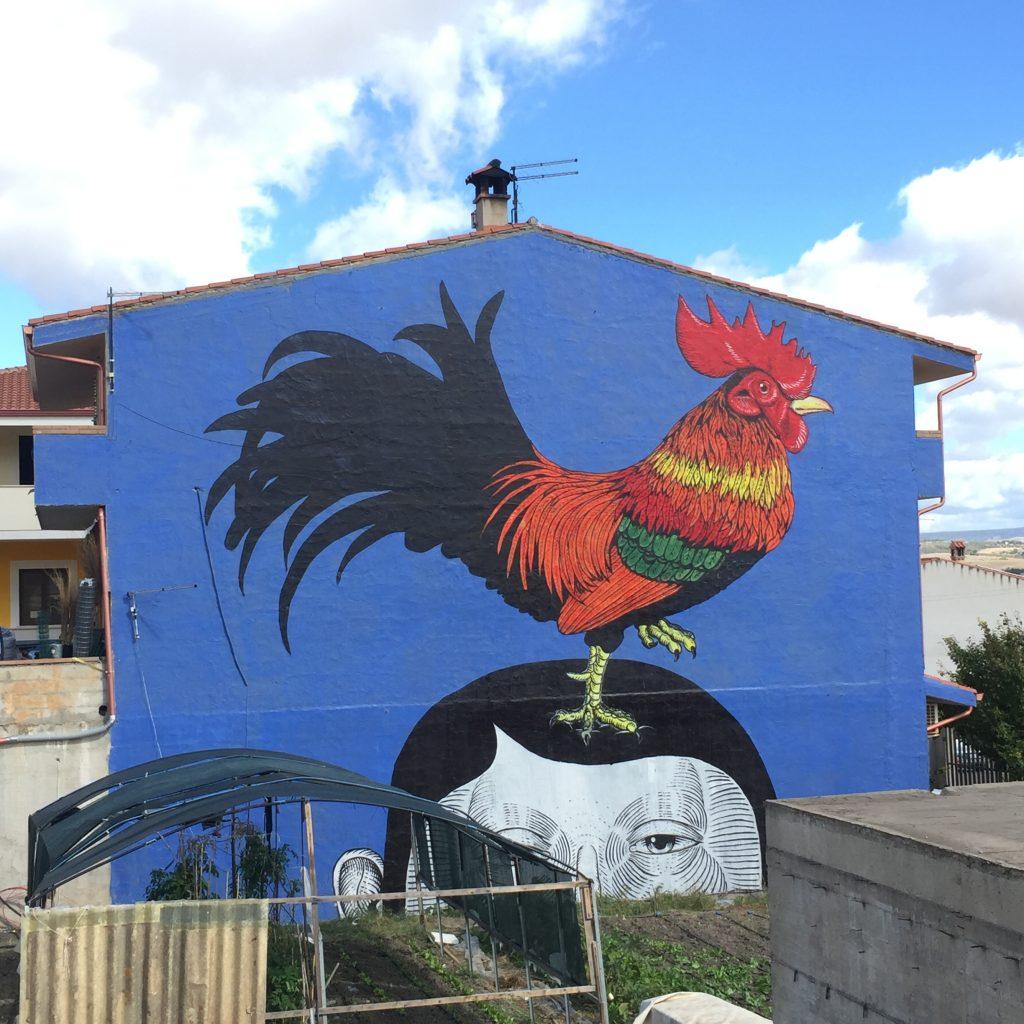 Wandmalerei / Murales am Ortseingang von Masullas