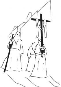 Prozession in Iglesias in weißen Gewändern