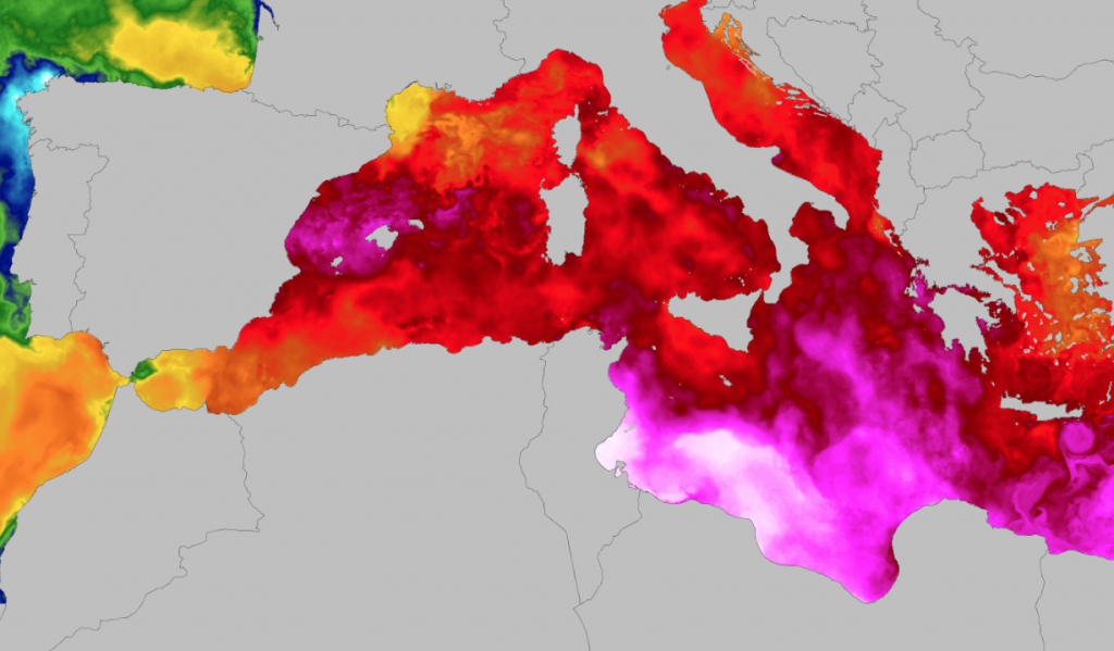 Temperatur-Anomalie im Mittelmeer im September 2018 - gefolgt von TLC, tropical-like cyclones