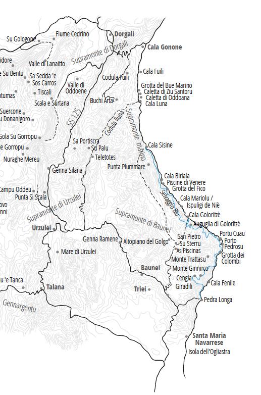 Übersichtskarte der Buchten im Supramonte marino (Copyright pecora nera, keine Vervielfältigung gestattet, Verwendung nur nach Rücksprache und Backlink)