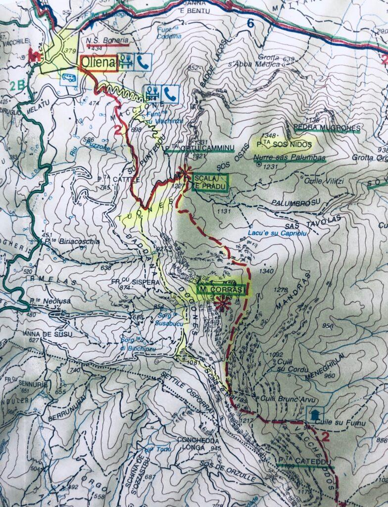 Kartenausschnitt unseres heutigen Treks im Supramonte di Oliena