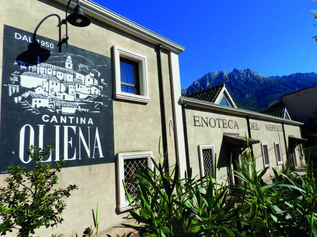 Die Cantina Oliena, natürlich mit dem Supramonte im Hintergrund