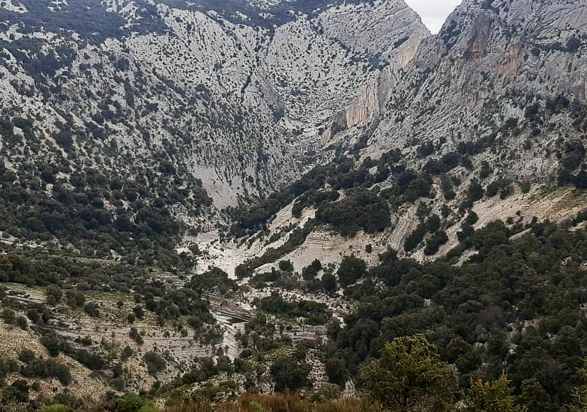 """Die Karstlandschaft von Sa Giuntura, und der rückwärtige """"Eingang"""" der Gola Su Gorropu"""